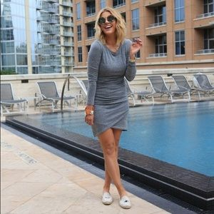 Keith Long Sleeve side ruched bodycon dress